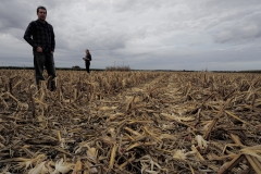 Mike Masters and Ilsa Kantola (UIUC) in a harvested corn field